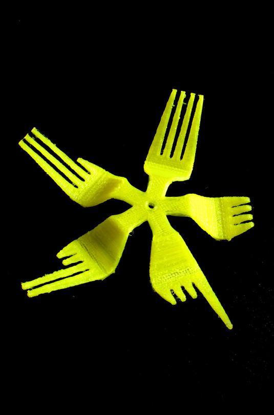 PLA filament print, Leapfrog, 3D printed forks