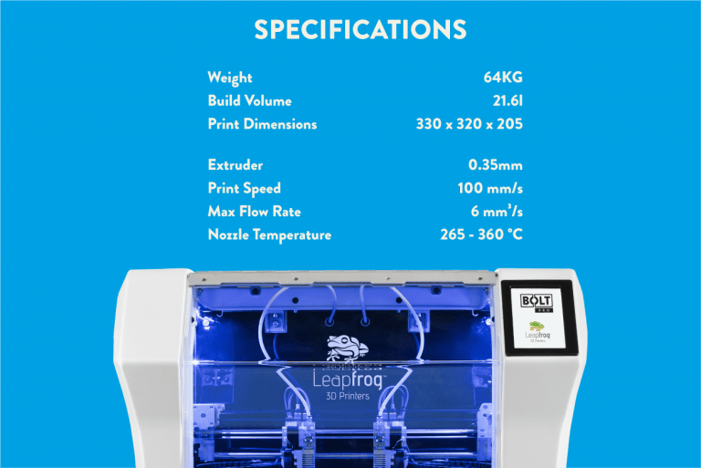 Leapfrog 3D printers, Bolt Pro 3D printer specifications, technical information Bolt Pro 3D printer