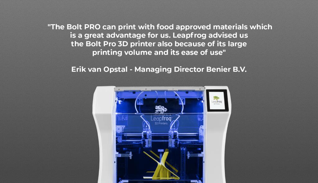 Benier review Leapfrog 3D printers, Bolt Pro 3D printer, opinion