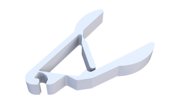 Pliers based on compliant mechanisms. The model is based on the design by the Compliant Mechanisms Research at Brigham Young University (CMR@BYU), which can be downloaded from http://compliantmechanisms.byu.edu/downloads/prototypes. The model was printed with the PolyFlex material from Polymakr on a MakerBot Replicator 2X.