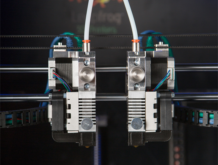 Leapfrog 3D printers independent dual extruders for 3D printing